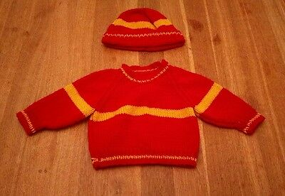 hand knitted harry potter baby jumper and hat size 0-3 gryffendor burgundy gold