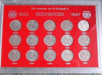 Queen Elizabeth II Sixpences 1953-1967 Collection in Plastic Flat Pack(FREEPOST)