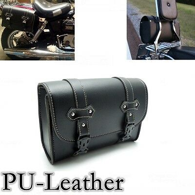 Black Motorcycle Saddle PU-Leather Side Bag Storage Pouch