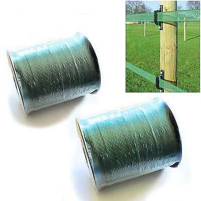 ELECTRIC FENCE TAPE - 2 x 12mm Green 400m Poly Fencing Horse Grazing