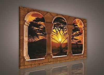 100x75cm LARGE PRINT CANVAS WALL ART PICTURE African Sunset Landscape Rural