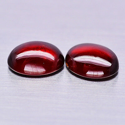 8.86 Ct Natural! Pair! Red Hessonite Garnet Oval Cabochon African Fabulous