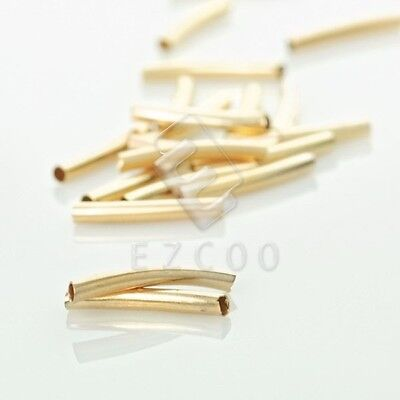 85pcs Curved Tube Spacer Beads Connectors Jewelry Making Findings 2x20mm Gold