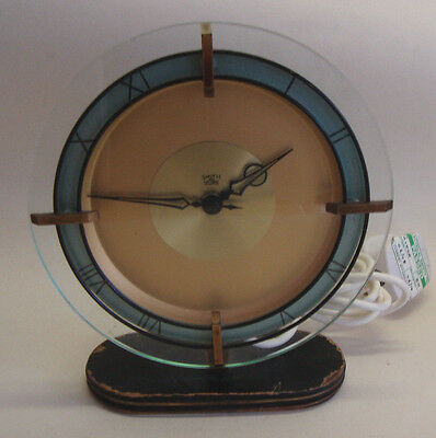 Art Deco SMITH SECTRIC glass dial mantel clock