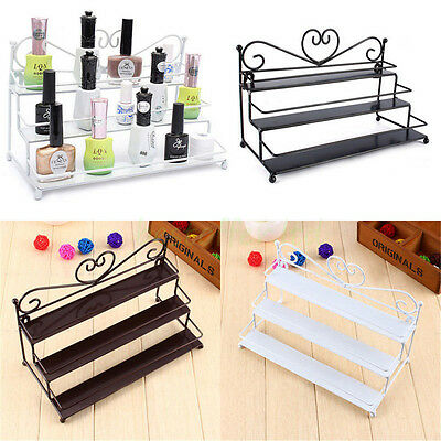 3 Tiers Metal Heart Shape Nail Polish Holder Display Wall Rack Table Organizer
