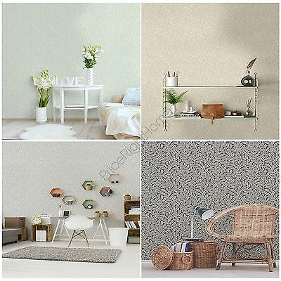 Crown Archives Ash Branch Wallpaper Green Grey Blue Natural Floral Feature Wall