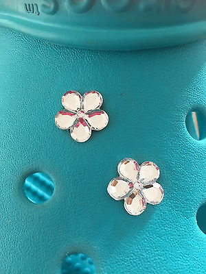2 Diamond Gem Flower Shoe Charms For Crocs and Jibbitz Wristbands Free UK P&P