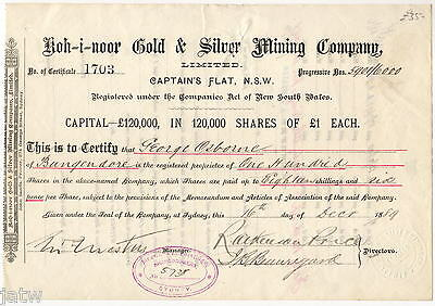 Share Scrip-Mining. 1889 Koh-i-noor Gold & Silver Mining Co. Captains Flat  NSW