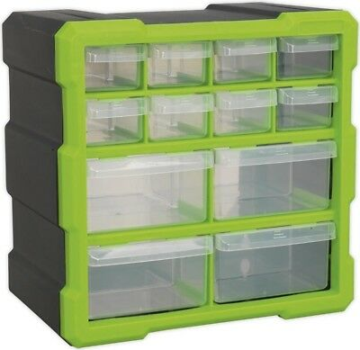 Sealey Durable Cabinet Storage Box 12 Drawers - Hi-Vis Green/Black