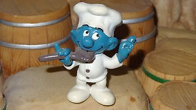 Smurfs Chef Tasting Spoon Smurf Rare Vintage Unique Display Toy Figurine