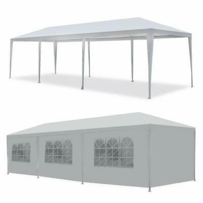 8 Side Walls 10'x30' Canopy Party Wedding Tent White Gazebo Pavilion W/2 Doors
