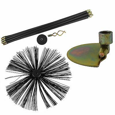 400mm Chimney Sweeping Brush & 9m Drain Rod Plunger Worm Screw & Scraper