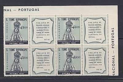 St Thomas and Prince 1951 Holy Year Sc 355 block  some disturb gum
