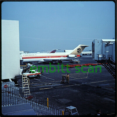Original Slide, Continental Airlines Boeing 727-224 (N66733) at LAX, 1977