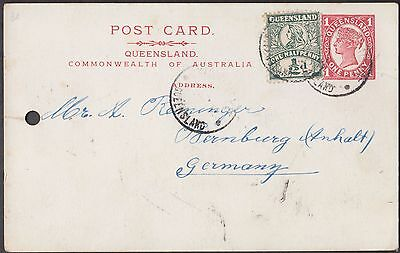 Queensland Brisbane 1 Penny Uprated Postal Card To Germany