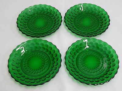 ANCHOR HOCKING CRYSTAL BUBBLE GREEN BREAD & BUTTER PLATES 6-5/8 - Set of 4