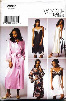 Vogue Sewing Pattern 9015 Misses Sz 6-14 Lingerie, Nightgown, Slip Robe Chemise