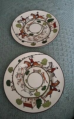 x2 Crown Staffordshire Hunting scene pattern side plates