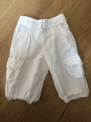 Monsoon Cropped Linen Trousers & Next Linen Trousers 6 - 12 Months