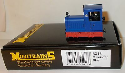 Minitrains 5013 - Gmeinder Diesel Loco, Blue/Red - Boxed. (009/HOe Narrow Gauge)