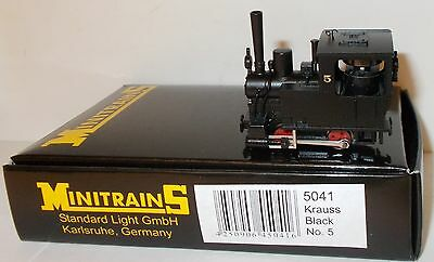 Minitrains 5041 - Krauss 0-4-0T, Black No.5 - Boxed. (009/HOe Narrow Gauge)