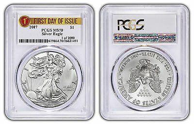2017 1oz Silver Eagle PCGS MS70 - First Day Issue Label - 1 of 2000