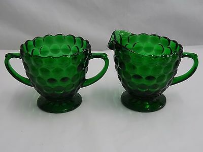 Anchor Hocking Crystal Bubble Green Creamer & Sugar