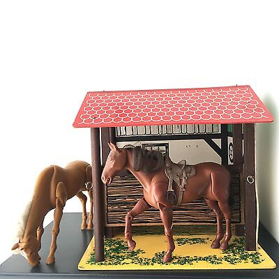 Vintage Children's Large Stable And Horses Retro Toy Wooden