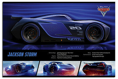 Cars 3 Jackson Storm Stats Official Poster New - Maxi Size 36 x 24 Inch