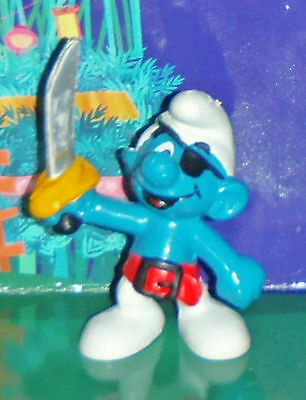 Vintage Pirate Smurf With A Sword & An Eyepatch 1978 Smurf Lot