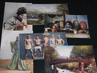 ORIGINAL SET OF SIX TUCK POSTCARDS - JAPANESE AT HOME - OILETTE No.6465.