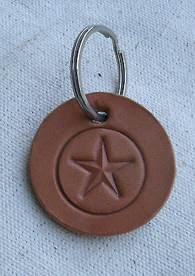 Handmade Leather Pentacle Keychain - pagan,wiccan,wicca,star & circle,stamped