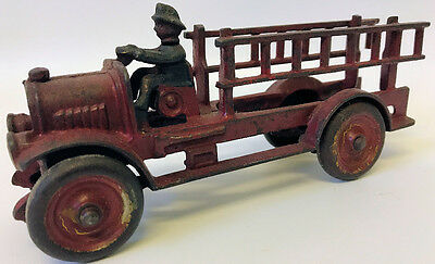 "Vintage 1930's Original KENTON Cast Iron 7-1/2"" Red Ladder Fire Truck"