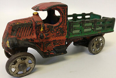 "Vintage 1920's A.C. WILLIAMS Cast Iron 4-3/4"" C-Cab Mack Stake Truck Toy Car"