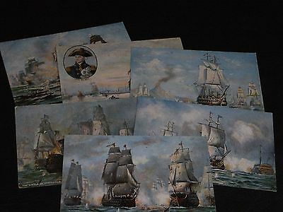 ORIGINAL SET OF SIX  TUCK POSTCARDS - NELSON`S FAMOUS VICTORIES  - No.6692.