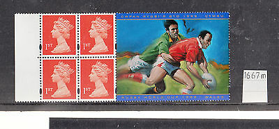 GB - 1999 WORLD CUP RUGBY Booklet Pane SG 1667M UMM