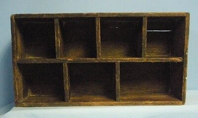 Primitive . Vintage Wood Box with 7 compartments