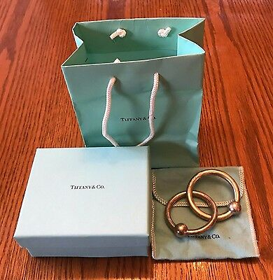 Tiffany  & Co Sterling Silver 925 Double Ring Baby Rattle w/ Dust Bag and Box