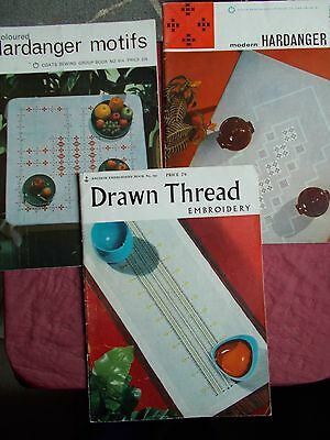 3 X Vintage Anchor Embroidery Books - Drawn Thread & Hardanger In Vgc