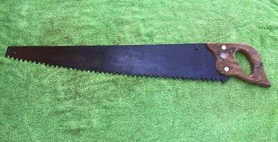 Vintage 1 Man 3 Foot Cross Cut Saw With  Plain Tooth Pattern Warranted Superior