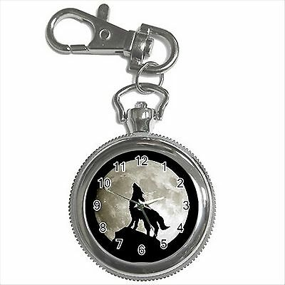NEW* HOT WOLF FULL MOON Silver Tone Key Chain Ring Watch Gift