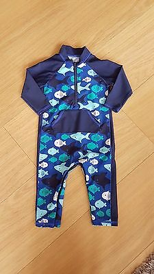 M&S boys uv protection swimsuit sun suit 6-9m fish print.