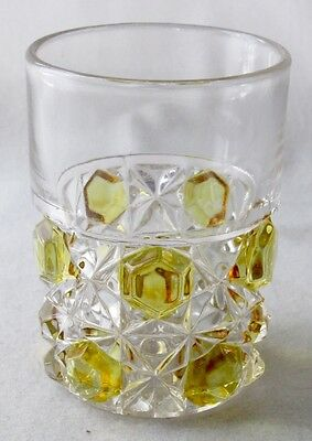 """Crystal glass  amber stained BLOCK AND LATTICE tumbler, 3 3/4"""" h. EAPG"""