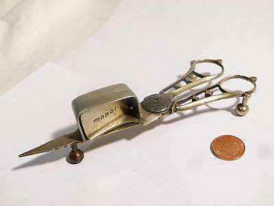 Antique 19thC Silver Plated Candle Snuffers Wick Trimmer, Scissor Action