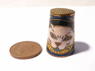Vintage Cloisonne Enamel CAT Decoration Thimble