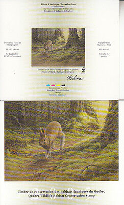 Canada MNH Quebec Conservation 2005 WWF  QW18A IMPERF SIGNED  Value $ 55.00