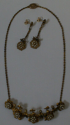 RARE Antique Georgian Era (1714-1830) Gold Necklace & Earrings Jewelry Set