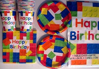 BLOCK PARTY LEGO HAPPY Birthday Party Supply Set Pack Kit for 16