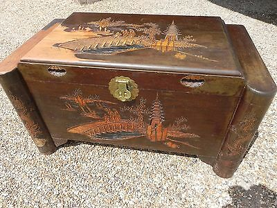 Antique Vintage Chinese Camphor Wood Large Carved Trunk Chest. Delivery Possible