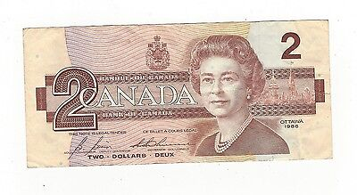 **1986**Canada $2 Note, Set of 3 Notes (Set #1)